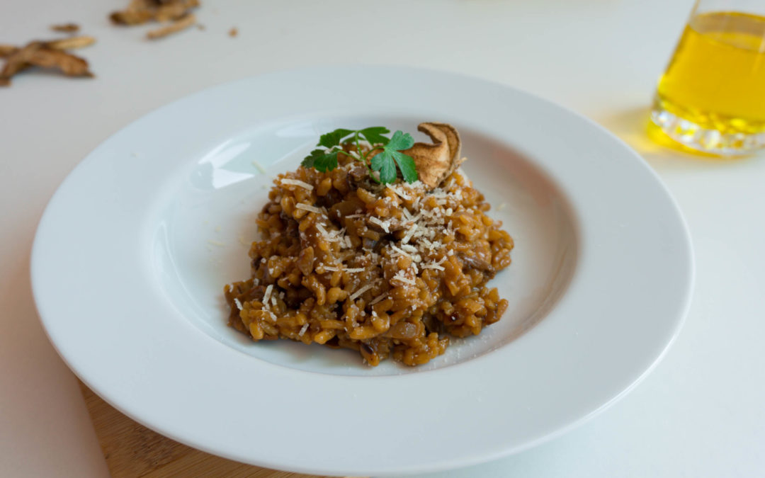 Risotto de setas saludable